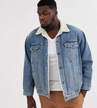 Levi's Big & Tall borg lined denim trucker jacket in mustard light wash