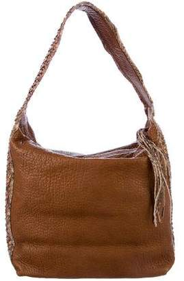 Carlos Falchi Fatto a Mano by Python-Trimmed Leather Hobo