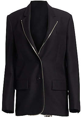 Alexander Wang Women's Oversized Wool-Blend Zip Lapel Blazer - Size 0