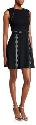 MICHAEL Michael Kors Sleeveless Pyramid Studded Mini Dress w/ Zipper Details