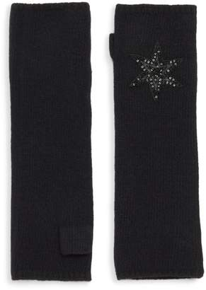 Carolyn Rowan Long Black Cashmere Fingerless Gloves With Leather Star