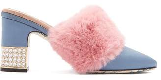 Gucci - Faux Fur Embellished Satin Mules - Womens - Light Blue