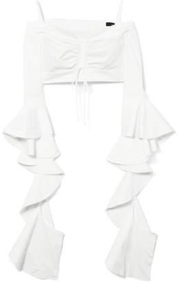 Ellery High Noon Off-the-shoulder Ruffled Cotton-poplin Top