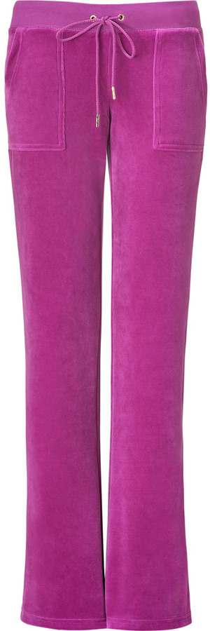 Juicy Couture Bougainvillea Velour Bling Bootcut Pants