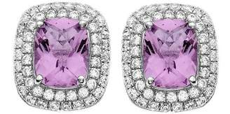 5th & Main Platinum-Plated Sterling Silver Facet-Cut Amethyst Pave CZ Earrings