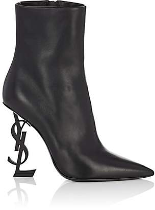 Saint Laurent Women's Opyum Leather Ankle Boots - Black