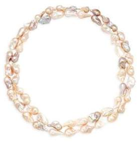 Sterling Silver & 13-15mm Baroque Pearl Layered Necklace