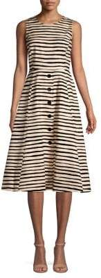 Donna Karan Brush-Stripe Buttoned Fit-&-Flare Dress