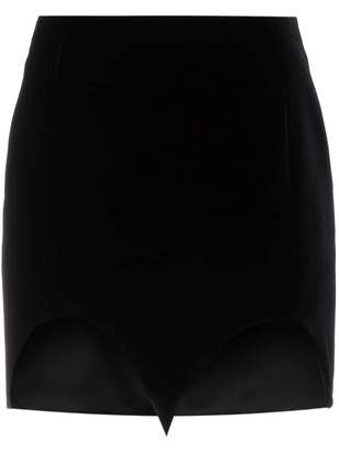 Saint Laurent Silk Cut Out Hem Mini Skirt