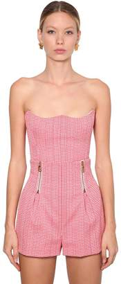 Versace Houndstooth Stretch Cotton Bustier