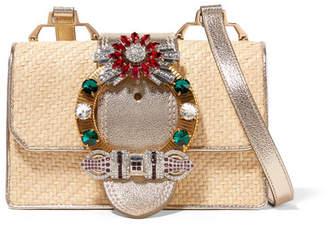 Miu Miu Miu Lady Embellished Raffia And Textured-leather Shoulder Bag - Gold