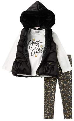 Juicy Couture Tee, Faux Fur Trimmed Puffer Vest, & Leggings Set (Toddler Girls)