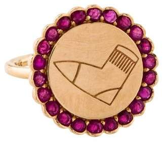 Alison Lou 14K Ruby Twister Coin Ring