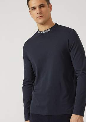 Emporio Armani Cotton Jersey Top With Logo Lettering On The Collar