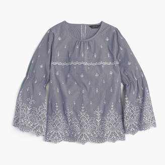 J.Crew Tall embroidered bell-sleeve top in striped poplin