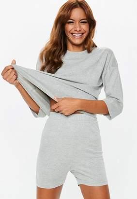 Missguided Gray Marl Oversized Cycling Short Pyjama Set