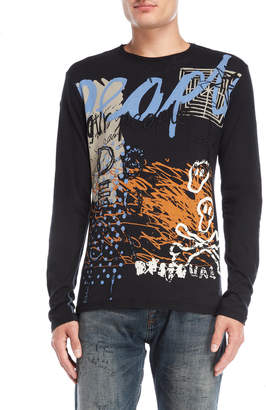 Desigual Black Graphic Embroidered Tee