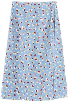 Goodnight Macaroon 'Shinny' Floral Wrap Midi Skirt