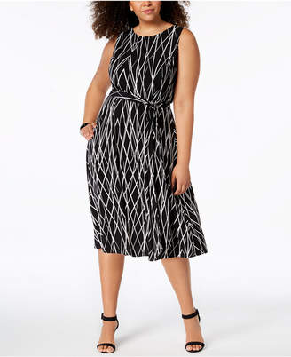 Jessica Howard Plus Size Printed Midi Dress
