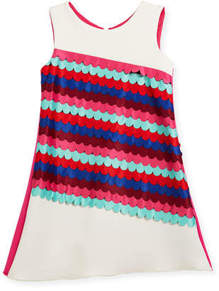 Zoe Scallop Front Sleeveless Shift Dress, Size 4-6X