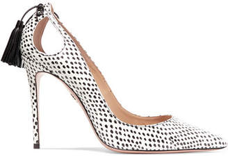 Aquazzura Forever Marilyn Cutout Tasseled Printed Watersnake Pumps - Snake print