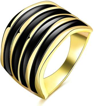 Aokarry Wedding Ring, Plated Fashion Style Wedding Band Black Strips Rings for Women Size 7
