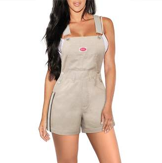 Hybrid Company Womens Stretch Denim Overalls Short-SHVJ1200-BEIGE/KHAK-S