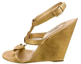 Saint Laurent Vintage Leather Wedge Sandals