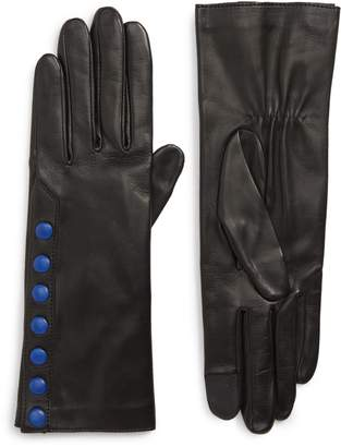 Agnelle Color Pop Button Lambskin Leather Gloves