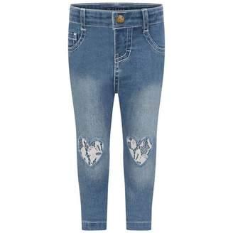GUESS Girls Blue Denim Lace Heart Jeans