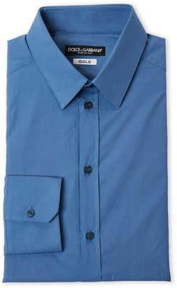 Dolce & Gabbana Dark Blue Gold Fit Dress Shirt