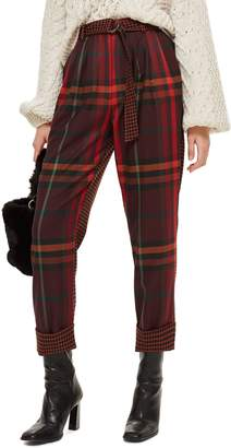 Topshop Belted Mixed Check Peg Trousers