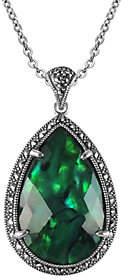 Suspicion Sterling Green Abalone & Marcasite Pendant w/ Chain