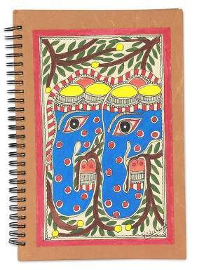 Elephant Duet Madhubani painting journal