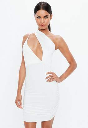 Missguided Cream Scuba Slinky One Shoulder Cut Out Dress
