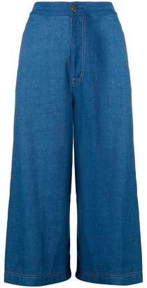 Tsumori Chisato knitted side stripe denim culottes