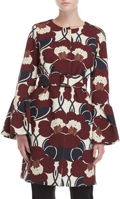 P.A.R.O.S.H. Floral Belted Trumpet Sleeve Coat
