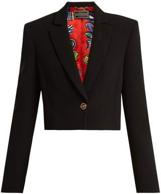 Versace Notch-lapel silk cropped blazer