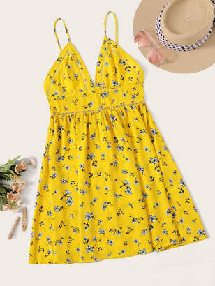 Shein Neon Yellow Strappy Insert Ditsy Floral Sundress