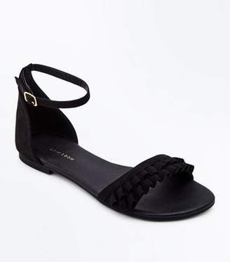 New Look Wide Fit Black Suedette Frill Strap Flat Sandals