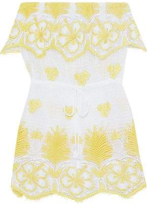 Miguelina Dylan Strapless Crocheted Cotton Coverup