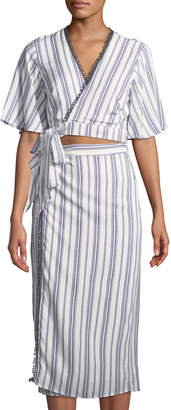 The Jetset Diaries Aries Striped Cutout Wrap Shirtdress