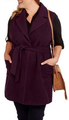 Maxwell Studio Women's Plus-Size Fashion Faux Wool Belted Sleeveless Coat--Wear as a Vest or Jacket