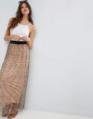 Asos Mesh Maxi Skirt in Animal Print