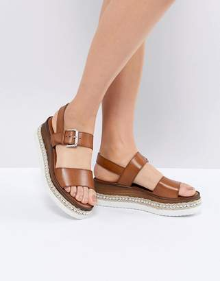 Dune Leather Flatform Sandal with Studded Sole
