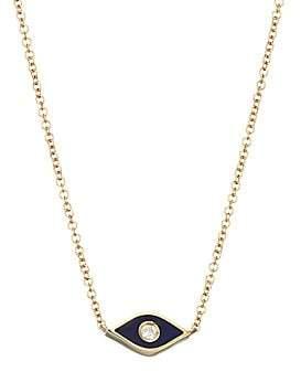 Ef Collection Women's 14K Yellow Gold, Diamond & Enamel Evil Eye Pendant Necklace
