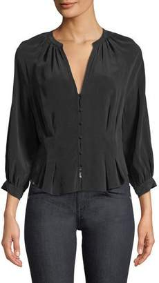 Joie Bitina V-Neck Button-Front Silk Top