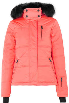 Topshop Sno - Rio Hooded Faux Fur-trimmed Quilted Ski Jacket - Papaya