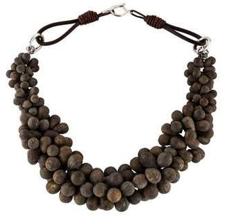 Brunello Cucinelli Bronzite Bead Collar Necklace