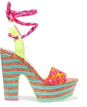 Sophia Webster Jade Neon Leather And Cork Platform Sandals